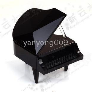 Musical Business gifts Black Crystal Piano Music Box Crystal Music Box