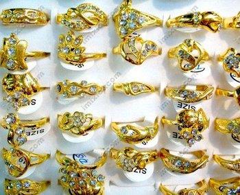 Free shipping Wholesale mix lot 30pcs Gold plated Australia Rhinestone ring rings jewellery fashion