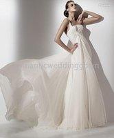 free shippig(any size/color) Romantic chiffon one-shoulder chapel train wedding dresses& Bride gown