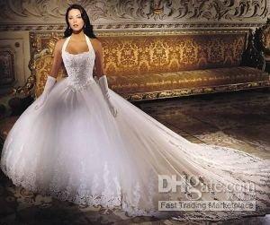 vestidos de renda cauda vestido da noiva / casamento (qualquer tamanho / cor) Novo branco longo(China (Mainland))