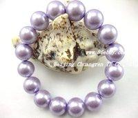 free shipping,wholesale, 12mm purple glass pearl stretch bracelet
