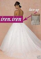 "White organza ""V"" Corset Wedding Dress, Evening Gown"
