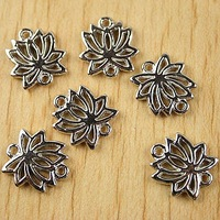 40Pcs Tibetan silver lotus charms Findings h1689