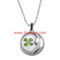 Real 4 Leaf Lucky Clover Shamrock Necklace Pendant Jewelry,pretty gift Free Shipping