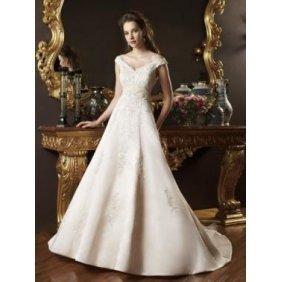 Sexy ivory V neck A-line Spaghetti court train ruffles taffeta wedding dress