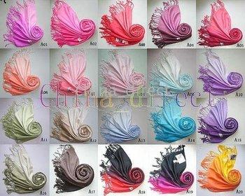 Cashmere Pashmina Silk feeling Scarf Shawl Wrap Womens Scarves 2-Tone 30 Colors 30pcs/lot