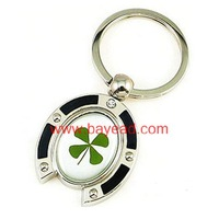 Real four Leaf lucky Clover horse's hoof Shaped Key chains,key ring,promotion gift,Handicraft,Souvenir Free Shipping