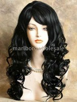 Charming biack curlCharming black curly made hair wig/wigs.1