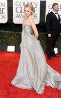 Organza/ Satin dress 2010 Golden Globe Awards Dianna Agron A-line Sweetheart Court Trains Sleeveless