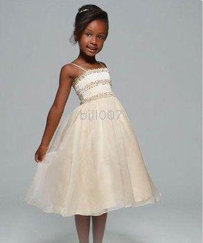 2009 Style SKU510307 Ball Gown Spaghetti Straps Tea-Length Flower Girl Dresses