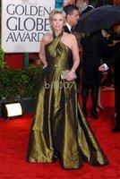 2010 Golden Globe Jane Lynch A-line Halter Sweep/ Brush Train Sleeveless Taffeta Celebrity Dresses
