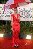 satin Evening Dress 2010 Golden Globe Awards Cameron Diaz Sheath Column V-neck Floor-length Elastic