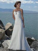 MS Styel RD1086 A-line White Chiffon Spaghetti Straps Court Train Beach Wedding Dresses
