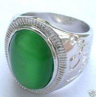beautiful Tibet silver Green Jade Men's Rings Size 9-11