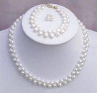 Charming!! natural White Freshwater Pearl Necklace Set