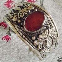 Charming Tibet silver Red Jade Cuff Bracelet