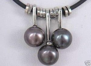 charming 3 natural black pearl leather necklace(China (Mainland))