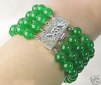 Stunning 4 row Beautiful 8 MM Green jade bead Bracelet(China (Mainland))