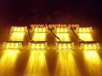 car light source New 8x 3 LED Emergency Truck Strobe Amber Light car styling Light Bar