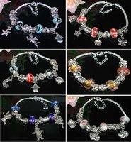 Wholesale - New arrival silver Chamilia Biagi Italian Bead Charm bracelet 19cm and 20cm mix size mix colors
