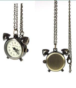 Bronze Tone Clock Designer Necklace Quartz Watch +Chain freeship cool