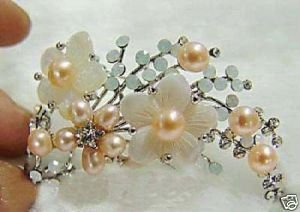 Fine Tibet silver Pink Pearl & Shell Flower Brooch(China (Mainland))