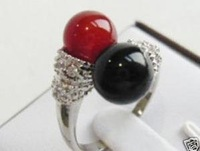 charming 8mm black agate red coral ring size 7.8,9