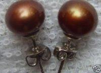 Popular Tibet silver coffee color pearl EARRING