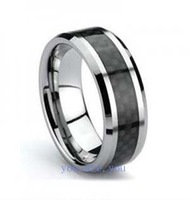 Guaranteed 100% Mens Ring Tungsten & Black Carbon Fiber Wedding Band  Size 8-12