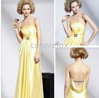 Elastic Silk-like Satin Dress On Sale / Evening Dress 56095 Empire Strapless Floor-length