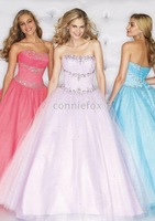 Ball Gown Sequin and Beads Embellished Strapless Full Length Organza Chiffon Informal Prom Dresses
