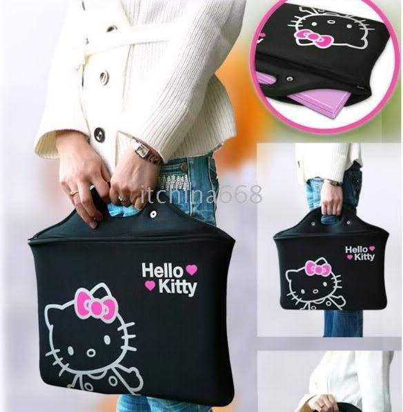 LAPTOP NOTEBOOK HAND BAG HELLO KITTY LAPTOP CASE NOTEBOOK BAG BRIEFCASES 20pcs/lot.Cute HELLO KITTY(China (Mainland))