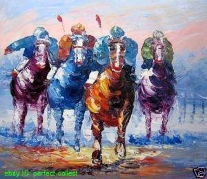 "ABSTRACT ART PAINTING HORSE RACING JOCKEY SPORT 24x36""(China (Mainland))"