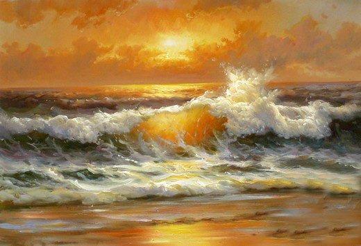 nice oil painting seascape ocean wave sunrise 24 x36 jpg