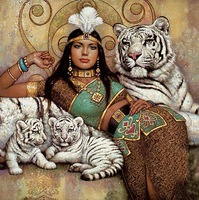 Art oil painting Repro:India girl with tiger,Baby24x36