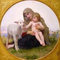 Oil painting portrait Virgin Mary & Jesus Christ sheep