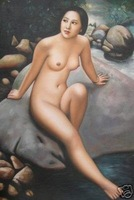 100% Handicraft art oil painting:Nude Model on River