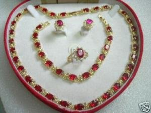 Charming red zircon necklace bracelet earring ring set
