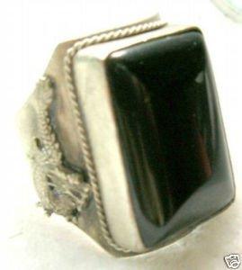 Tibete jade preto Anel inlay bênção homens de prata ' s(China (Mainland))