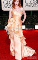 2010 Golden Globe Awards Christina Hendricks Sheath Sweetheart Court Trains Satin Prom Dress