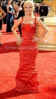 "2009 Emmys Red Carpet ela Kinsey (""The Office"") red taffeta sheath evening dresses"