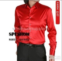 shiny silk satin long-sleeved shirt Men's SA014 and retail red