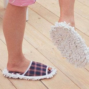 Brand New Free shipping+Cleaner Clean Plaid Dusing Dust Mop Slipper Shoes Floor Wholesale retail(China (Mainland))