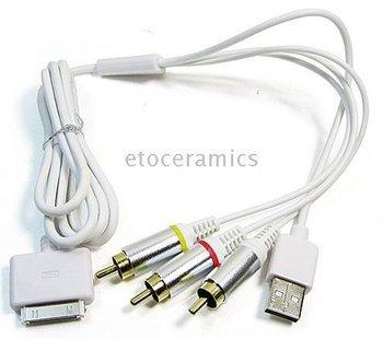 Freeshipping! 100pcs/lot Multi-function AV USB Cable data RCA  AV TV Video USB Cable for cell phone