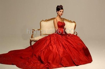A-line strapless Embroider court train tulle and Satin Wedding dress of bride A@889 New Sexy red