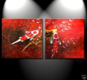Pintura al óleo moderna del arte abstracto de los pescados de Koi del océano