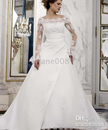 Embroidery Court Train WD530 Long Sleeve Wedding Dresses Simple Lace ALine