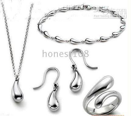 valentine's day 006 Brand New 925 Sterling Silver Necklace+Bracelet+Ring+Earring Set Best Gift for(China (Mainland))