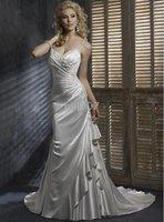 straps Bridal Gown sexy Elastic SatinWedding Dress for Jobridal MS 2010 Style Cathy sheath spaghetti