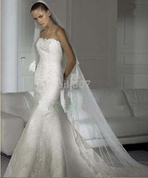 Sexy Luck 2009 style white strapless embroider wedding dress for bride